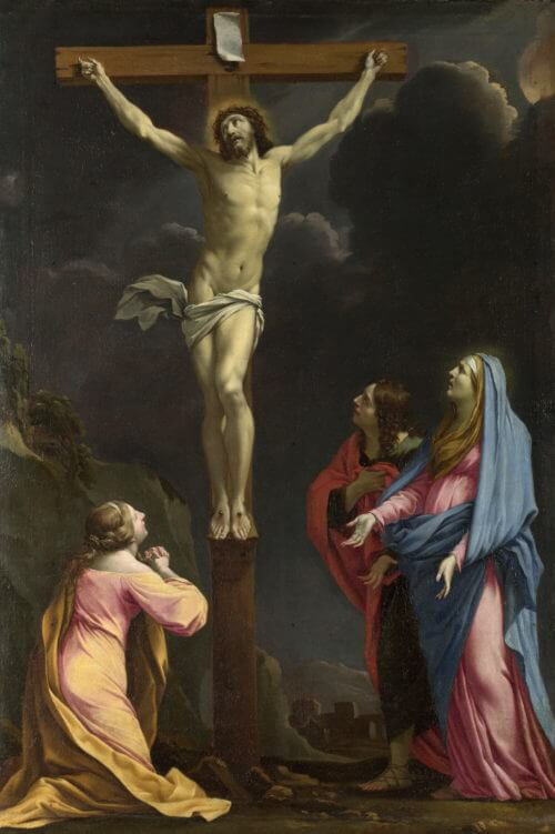 Full title: Christ on the Cross with the Virgin and Saints<br /> Artist: Eustache Le Sueur<br /> Date made: about 1643<br /> Source: http://www.nationalgalleryimages.co.uk/<br /> Contact: picture.library@nationalgallery.co.uk<br /> Copyright © The National Gallery, London